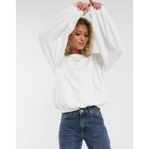 Urban Bliss balloon sleeve sweatshirt in white