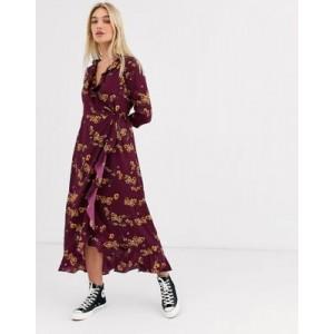Vero Moda floral ruffle wrap dress