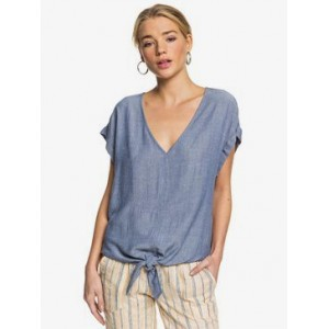 Born To Try Short Sleeve Tie-Front Crepe Top