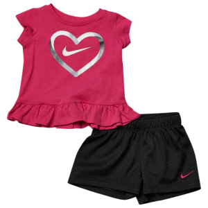 Nike Heart S/S T-Shirt & Mesh Shorts Set - Girls' Infant