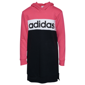 adidas Core Long Sleeve Hooded Dress - Girls' Grade School