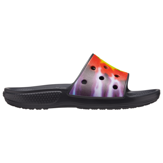 Crocs Classic Tie Dye Graphic Slides - Womens
