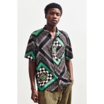 UO Modern Scarf Print Rayon Short Sleeve Button-Down Shirt