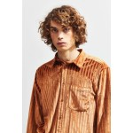 UO Striped Velour Button-Down Shirt