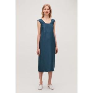 LINEN-SILK DRESS WITH BACK TIES