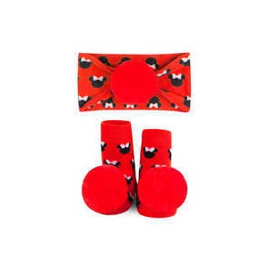 Minnie Mouse Socks and Headband Gift Set for Baby by Waddle - Red