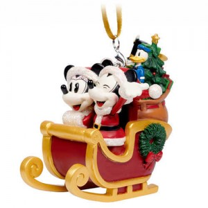 Santa Mickey and Minnie Mouse in Sleigh Ornament