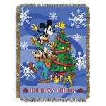 Mickey Mouse and Friends Holiday Woven Tapestry Throw Blanket