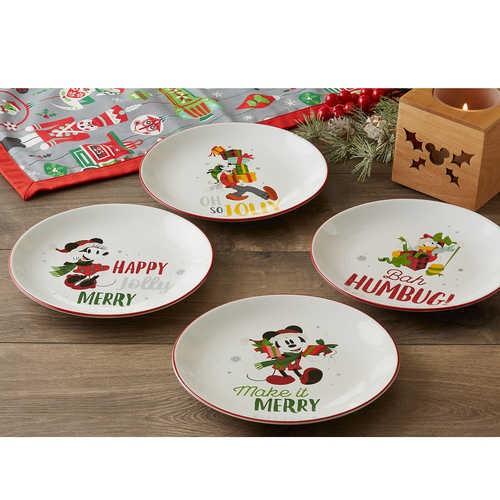 디즈니 Santa Mickey Mouse and Friends Holiday Salad Plate Set