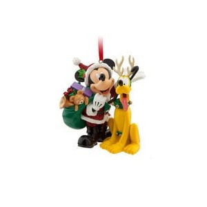 Santa Mickey Mouse and Pluto Ornament