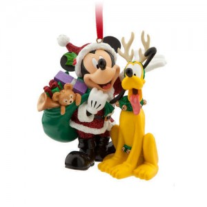 Santa Mickey Mouse and Pluto Ornament
