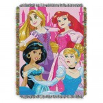 Disney Princesses Woven Tapestry Throw Blanket