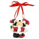 Santa Mickey and Minnie Mouse Figural Ornament