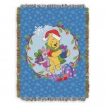 Winnie the Pooh Holiday Woven Tapestry Throw Blanket