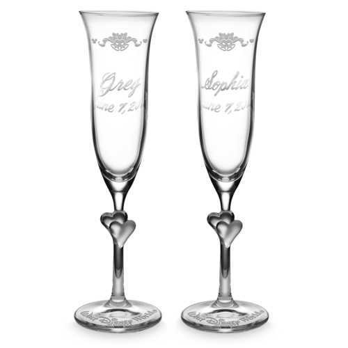 디즈니 Walt Disney World Glass Flutes by Arribas - Personalizable