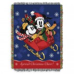 Mickey Mouse and Friends Sleighride Woven Tapestry Throw Blanket