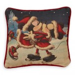 Santa Mickey and Minnie Mouse Holiday Throw Pillow