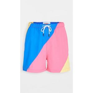 The Classic Colorblock Blue Fuchsia Yell Swim Shorts