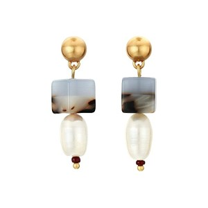 Color-Block Bead Pearl Earrings