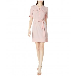 Pocket Front Belted Shirtdress Cherry Blossom