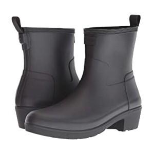 Refined Low Heel Ankle Biker Rain Boots Black