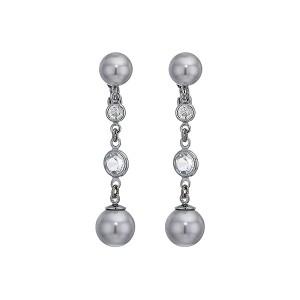Clip Glass Pearl Drop Earrings