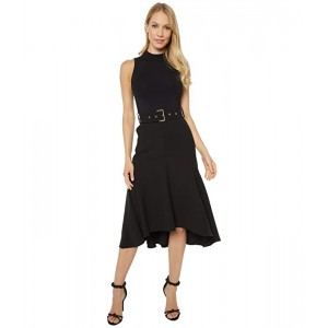 Corvala Midi Dress with Dip Hem Fluted Skirt