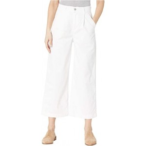 Pleated Wide Leg Chino Pants White