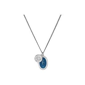 Fortuna Pendant Necklace w/ Enamel Sterling Silver Oxidized