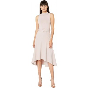 Corvala Midi Dress with Dip Hem Fluted Skirt Light Pink