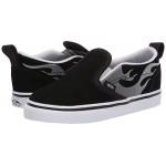 Vans Kids Slip-On V (Infantu002FToddler) Suede Flame Black/True White