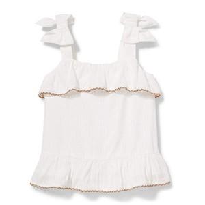 Janie and Jack Textured Stripe Top (Toddleru002FLittle Kidsu002FBig Kids) White