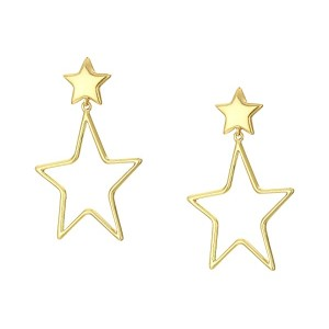 Filled in Wire Star Drop Earrings