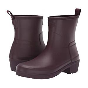 Refined Low Heel Ankle Biker Rain Boots Oxblood