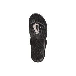 Sanrah Beveled Flat Flip-Flop Charcoal/Black