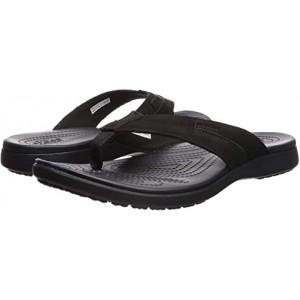 Crocs Santa Cruz Leather Flip Black/Black