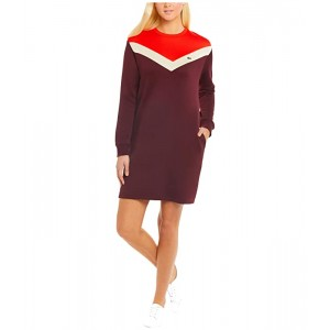 Long Sleeve French Terry Color-Block Dress