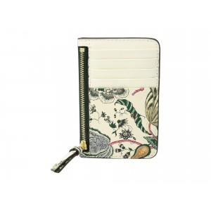 Floral Tassel Top Zip Card Case Ivory Happy Times