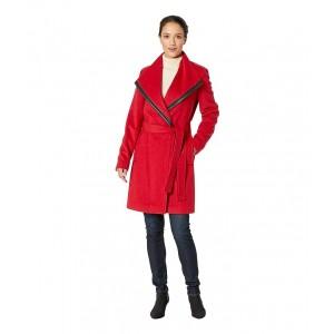 Wool Wrap with PU Trim Detail Crimson
