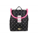Luv Betsey Medium Backpack wu002F Clear Flap Window & Cat Lucite Buckle Black/Fuchsia
