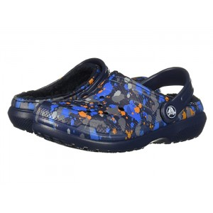 Classic Printed Lined Clog (Toddler/Little Kid) Navy/Navy