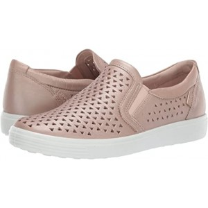 ECCO Soft 7 Laser Cut Slip-On Champagne Metallic Cow Leather