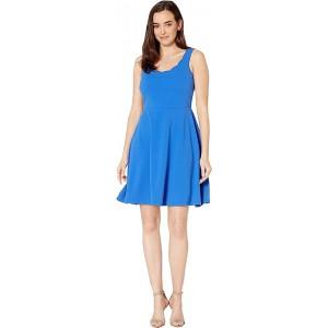 Drapey Crepe Sleeveless Fit & Flare Dress w/ Scallop Neckline Royal