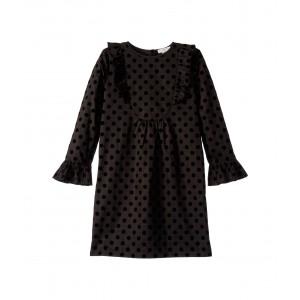Long Sleeve Dot Print Dress (Toddler/Little Kids/Big Kids) Black