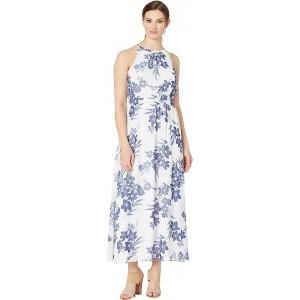Smocked Halter Neckline Maxi Dress Ivory/Admiral Multi