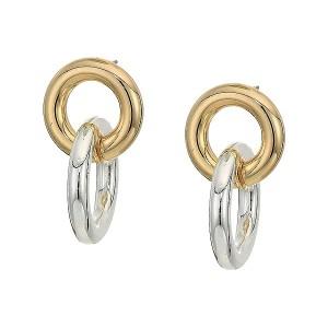 Circle Post Link Drop Earrings