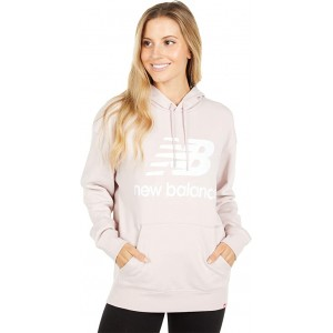 New Balance Essentials Stacked Logo Oversized Hoodie Space Pink