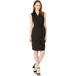 Velvet Trim Collar Shirtdress w/ Tie Belt Black