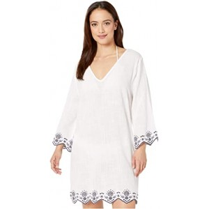 Rosemary Embroidery V-Neck Caftan Cover-Up White