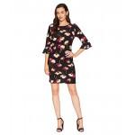 Printed Ity 3/4 Ruffle Sleeve Dress